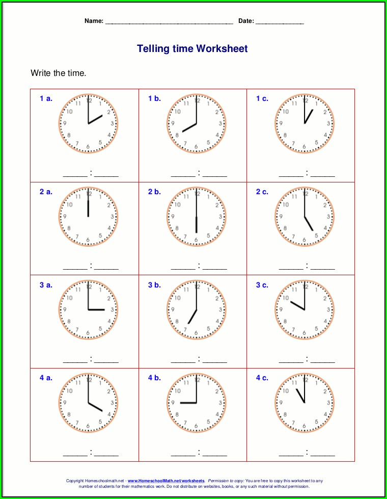 Telling Time Printable Games For First Grade