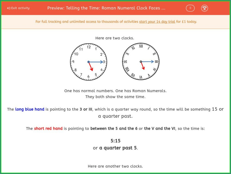 Telling Time Roman Numerals Worksheets