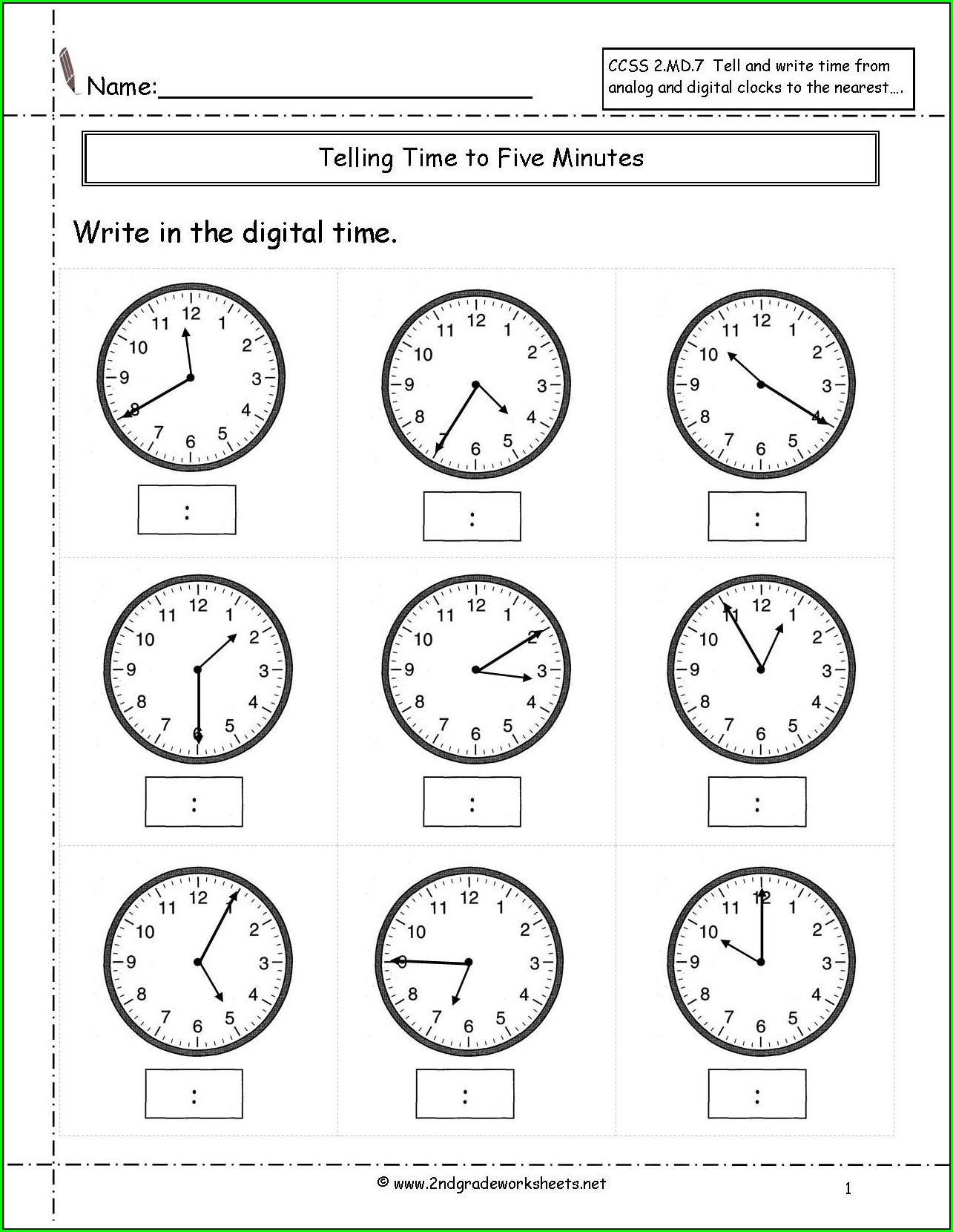 Telling Time To The One Minute Worksheet