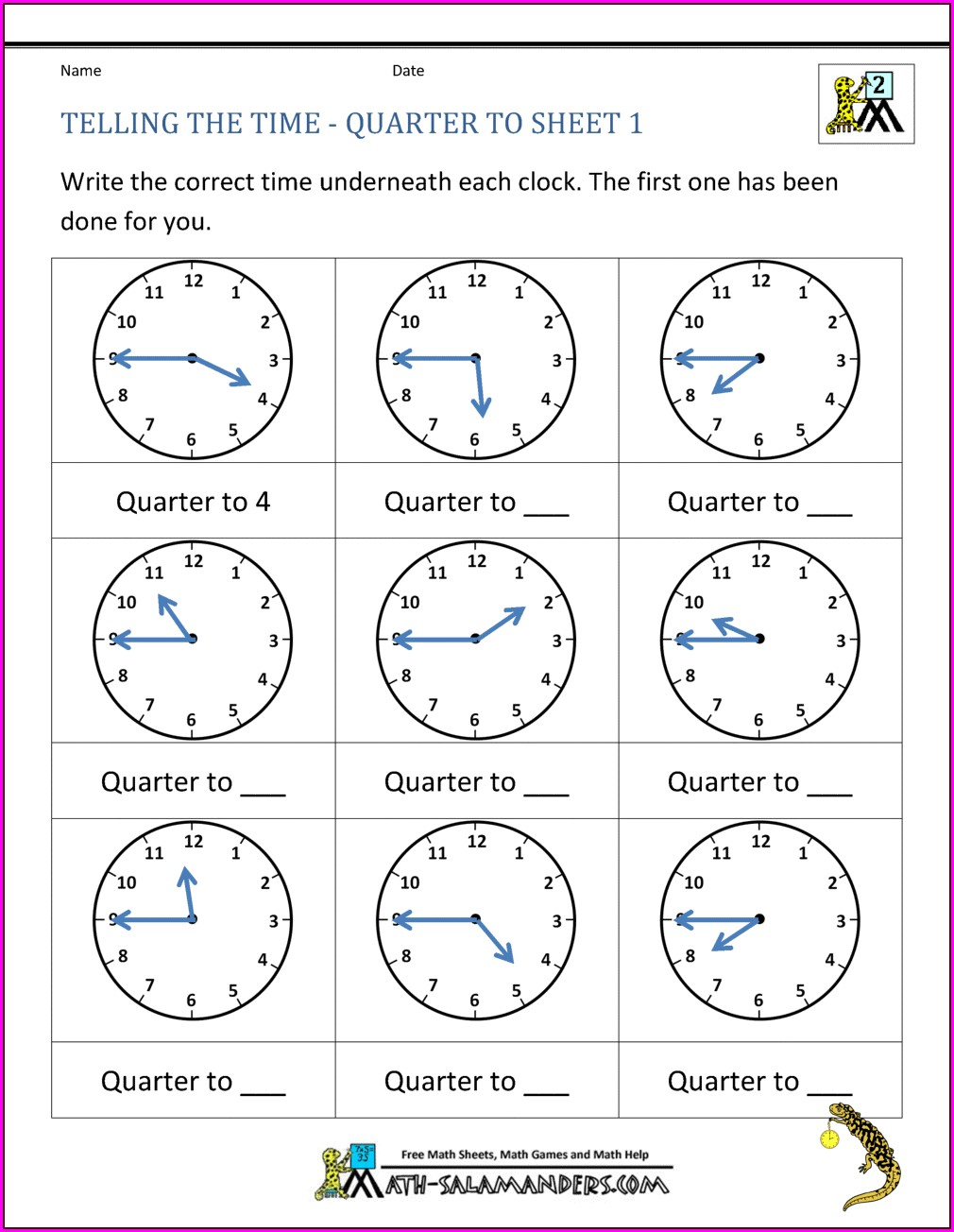 Telling Time To The Quarter Hour Worksheets Pdf