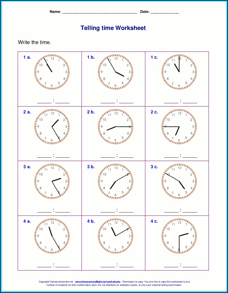Telling Time Workbook Printable