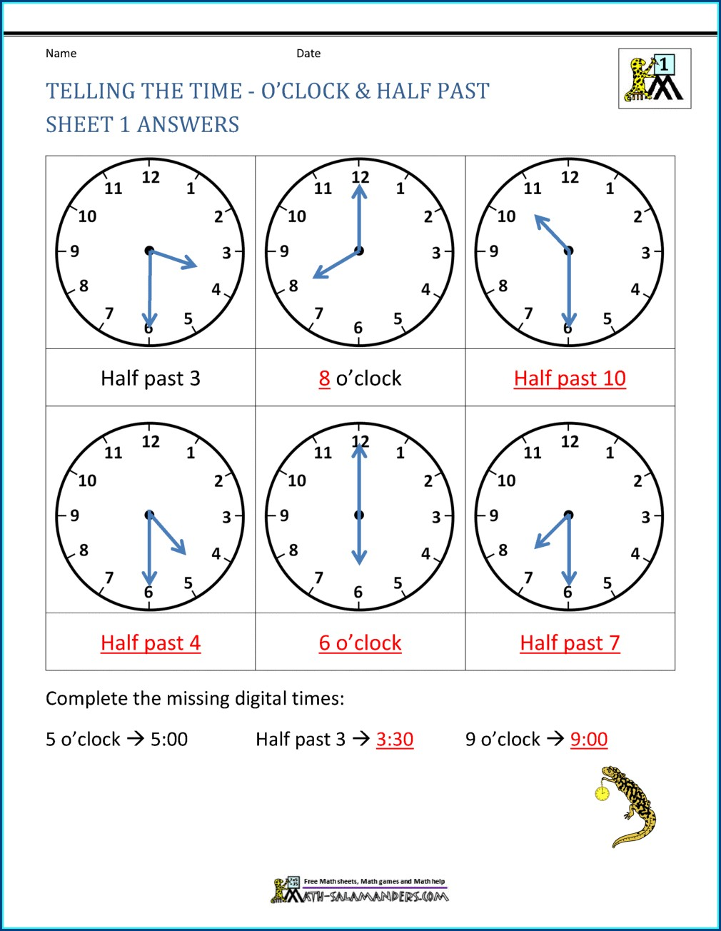 Telling Time Worksheet 2nd Grade