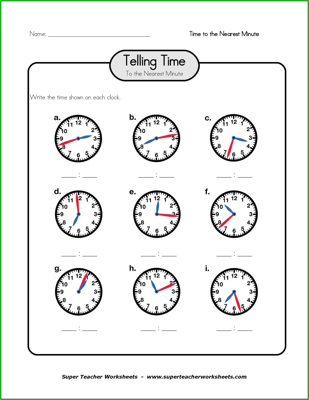 Telling Time Worksheet Super Teacher