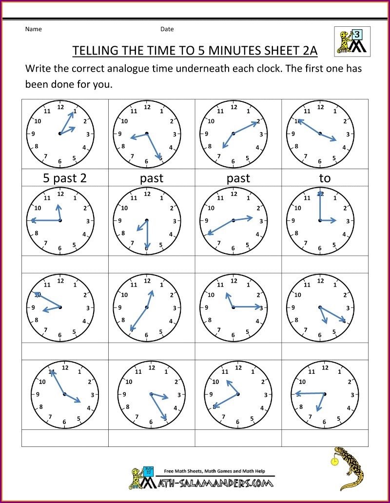 Telling Time Worksheet To The 5 Minutes