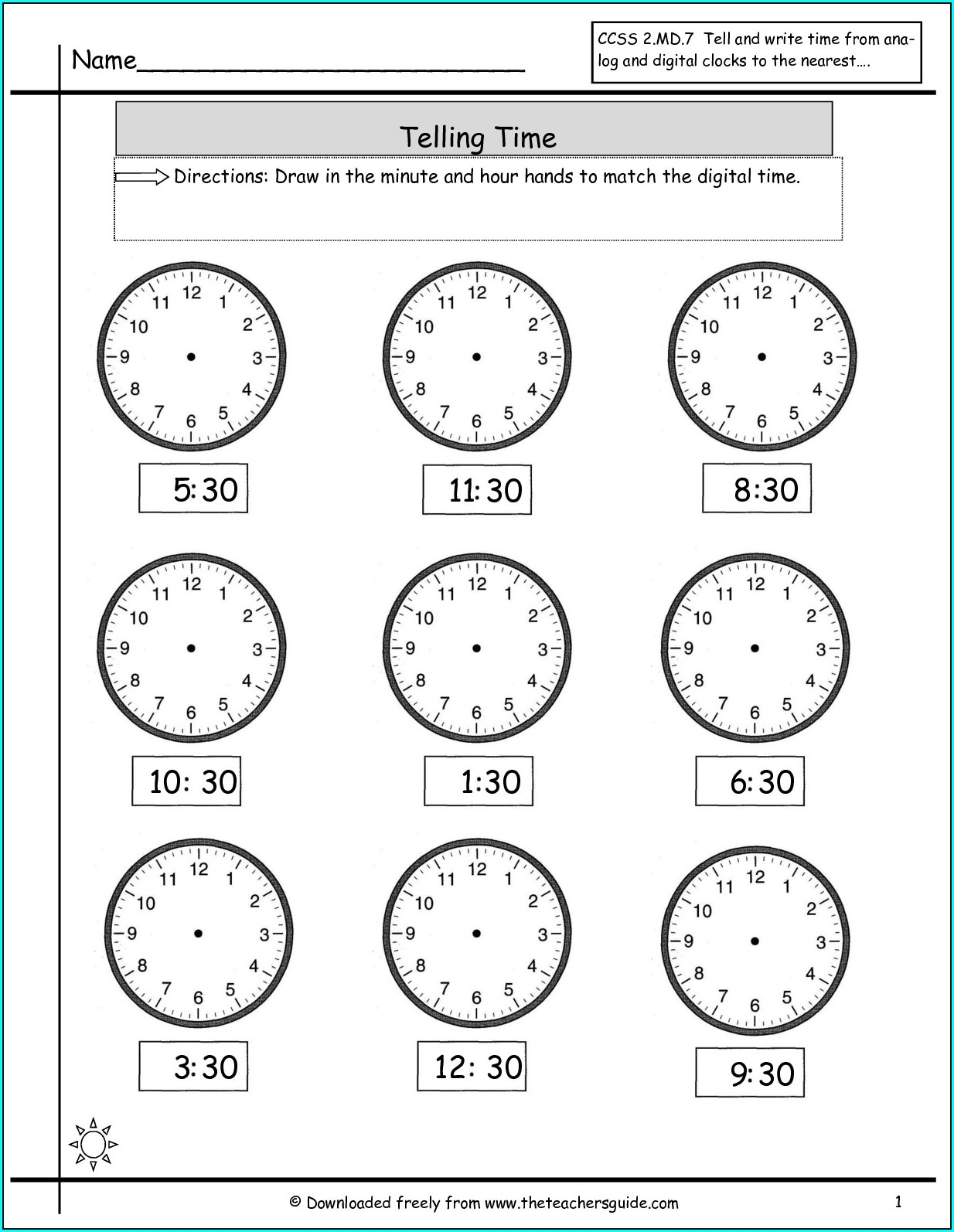 Telling Time Worksheets By Half Hour