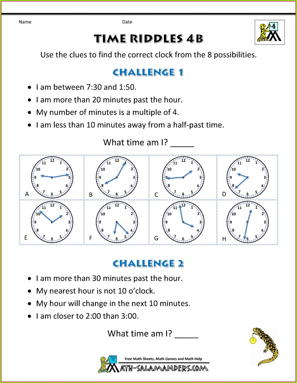 Telling Time Worksheets Word Document