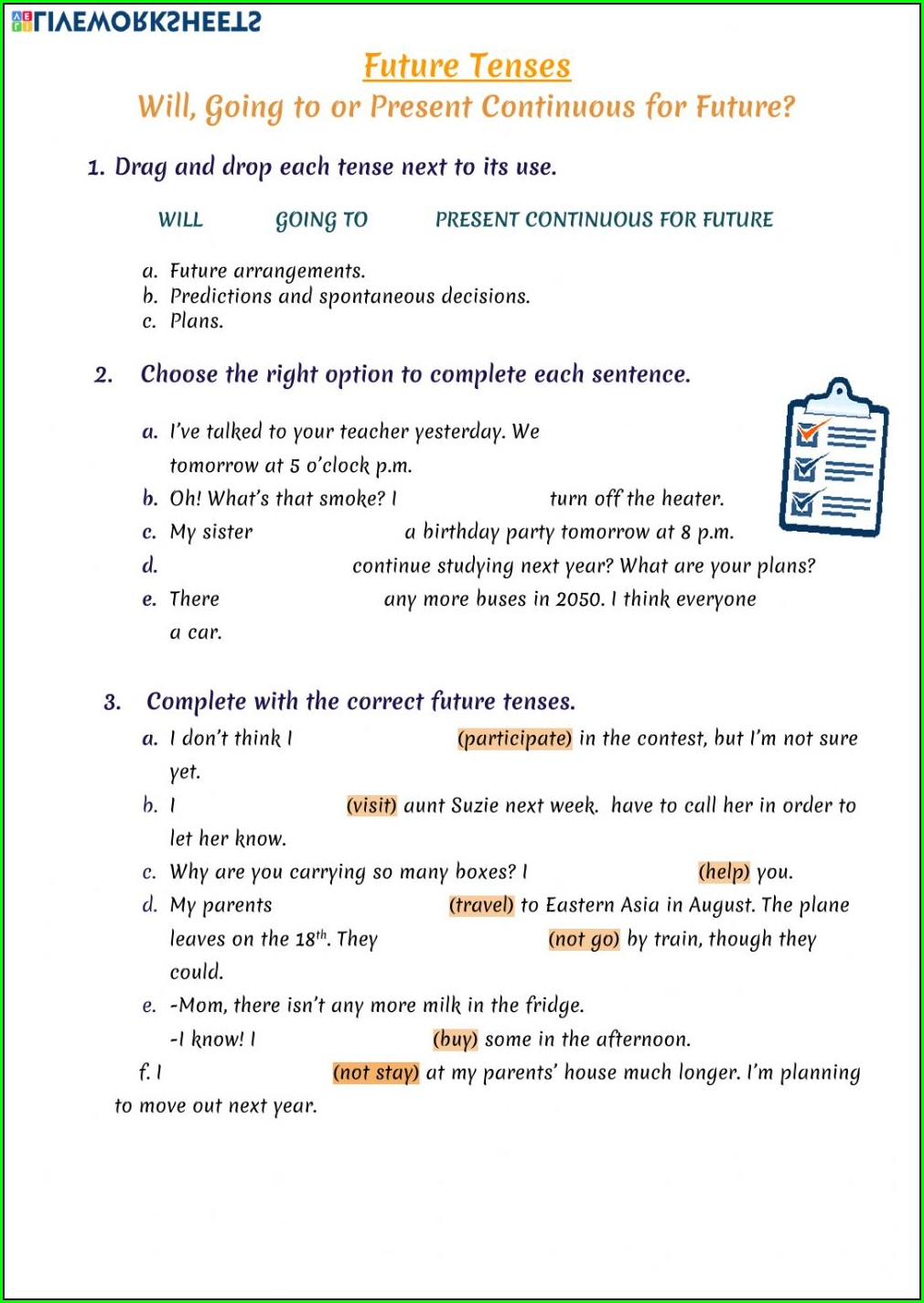 Tenses Worksheets For Grade 5 With Answers Pdf