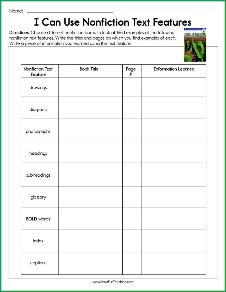 Text Features Worksheet 2nd Grade Pdf