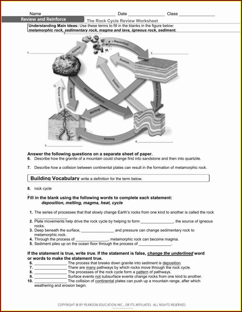 The Rock Cycle Worksheet Key