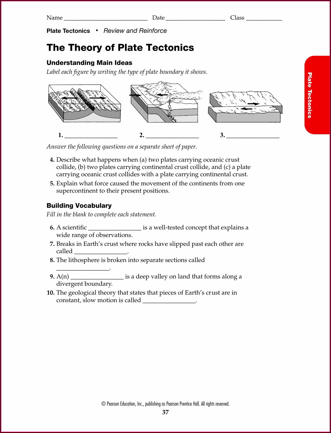 Theory Of Plate Tectonics Tasa Worksheet Answers Worksheet
