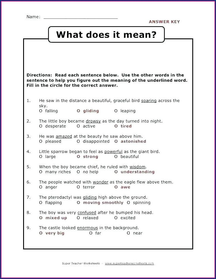 Third Grade Context Clues Worksheets 3rd Grade