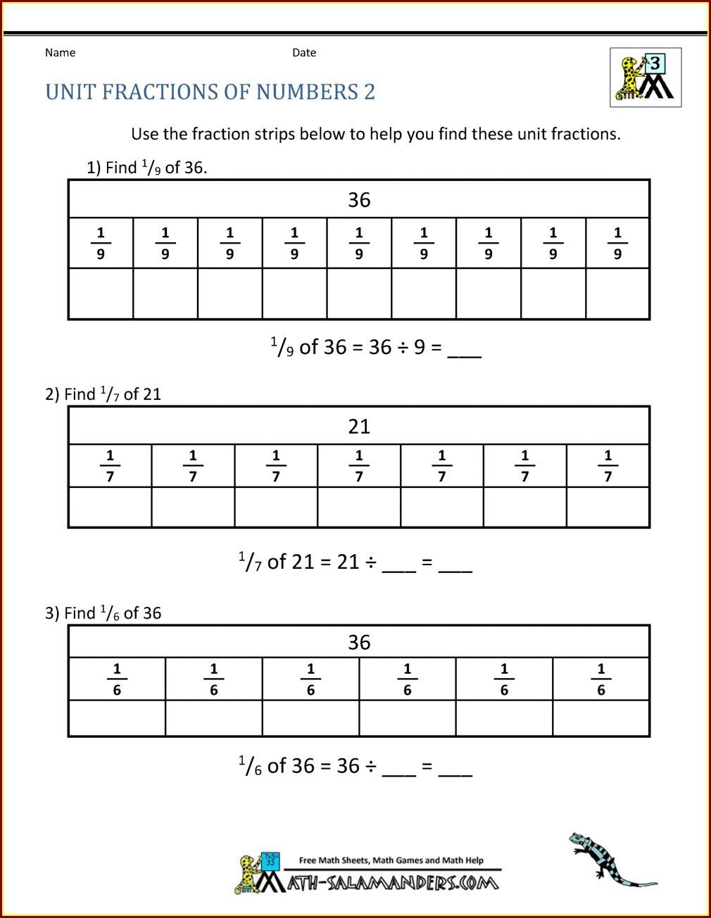 Third Grade Grade 3 Fractions Worksheets Pdf