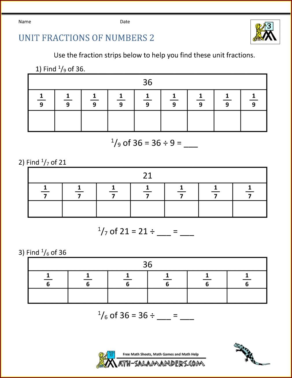 Third Grade Grade 3 Fractions Worksheets Pdf