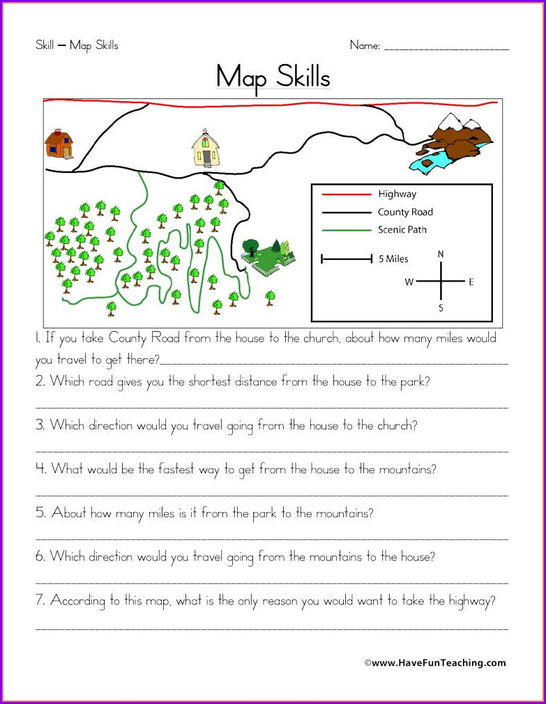 Third Grade Map Skills Worksheets 3rd Grade