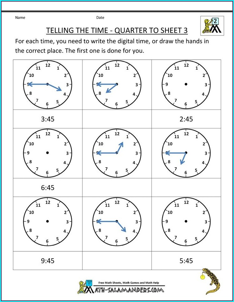 Time Five Minute Intervals Worksheets