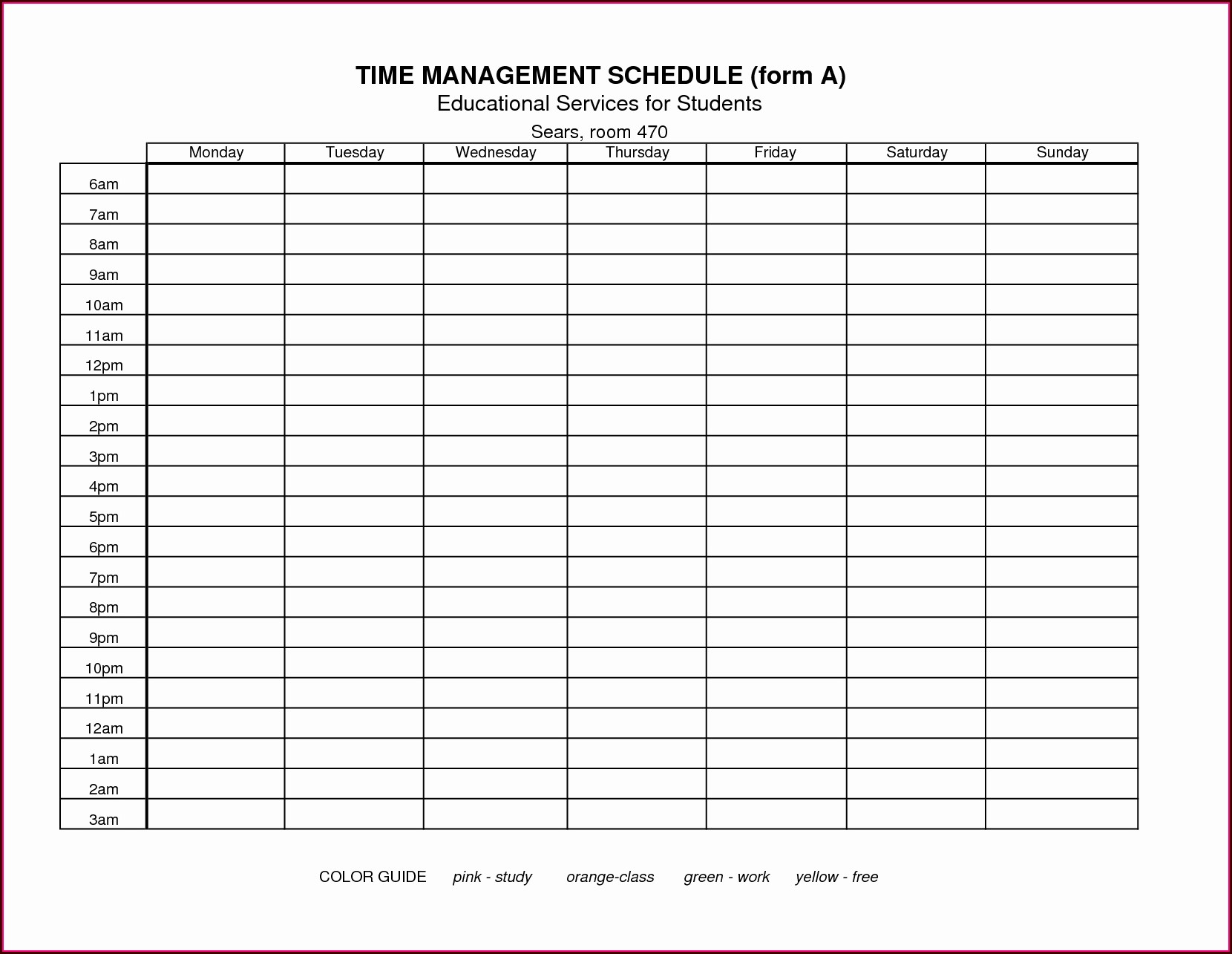 Time Management Worksheet Excel