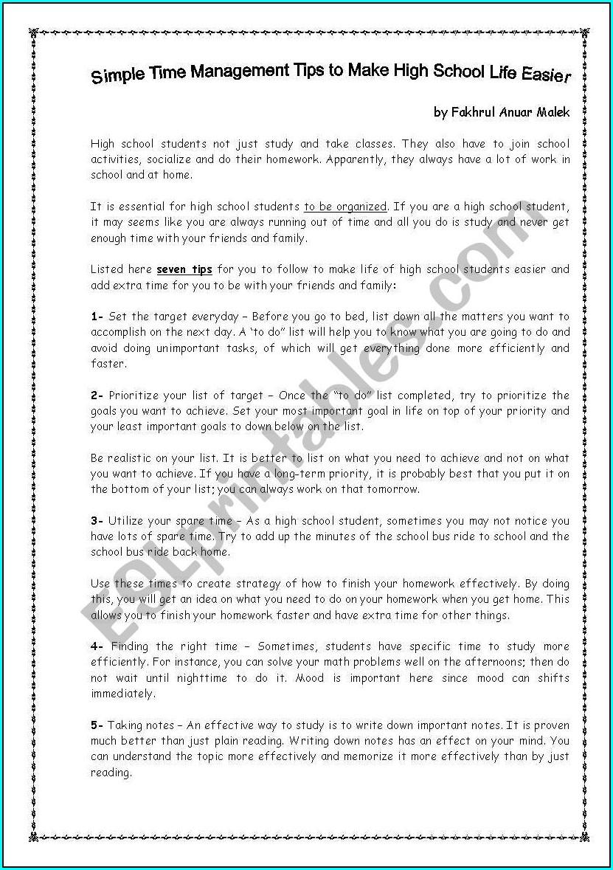 Time Management Worksheet For High School Students