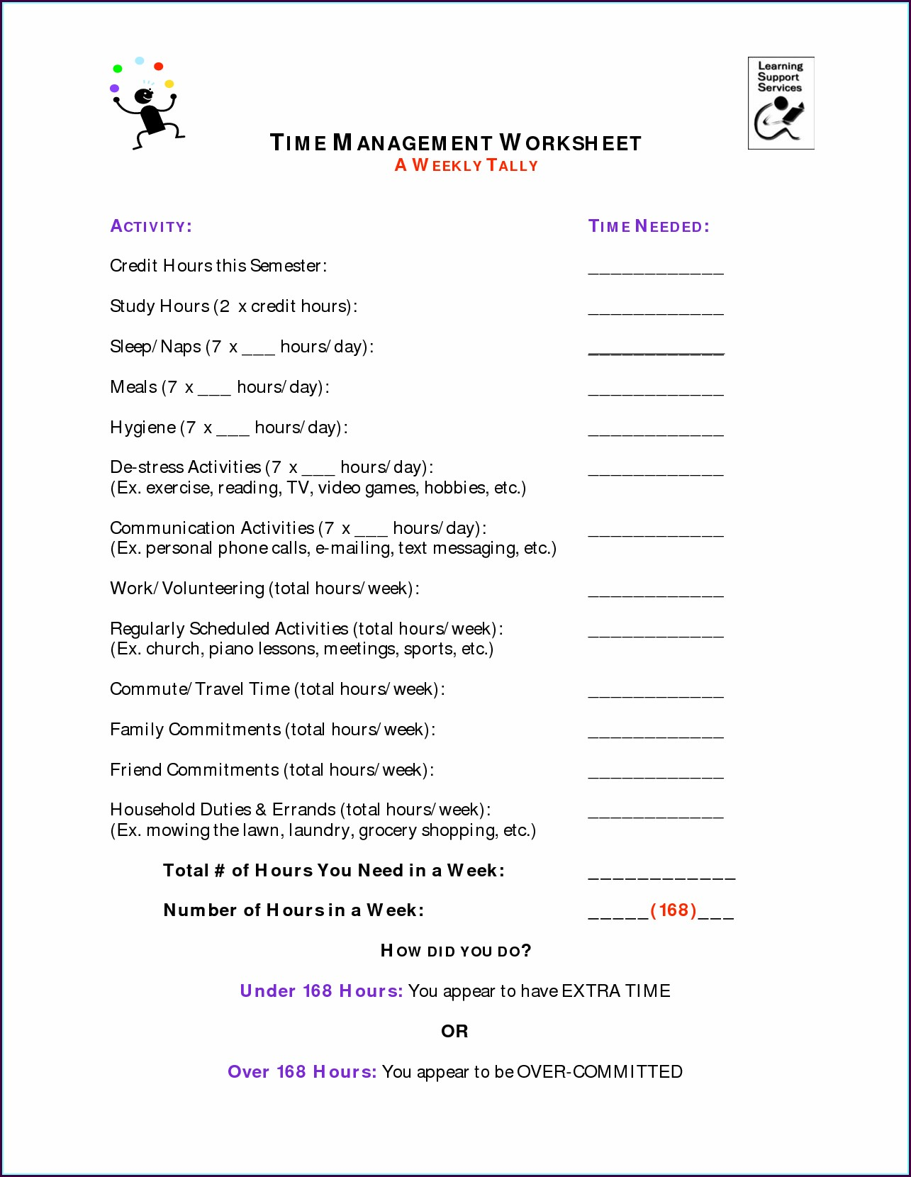 Time Management Worksheet For Middle School Students