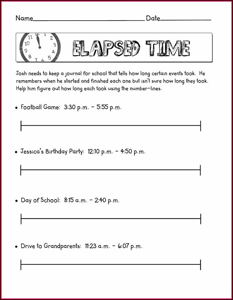 Time On A Number Line Worksheet