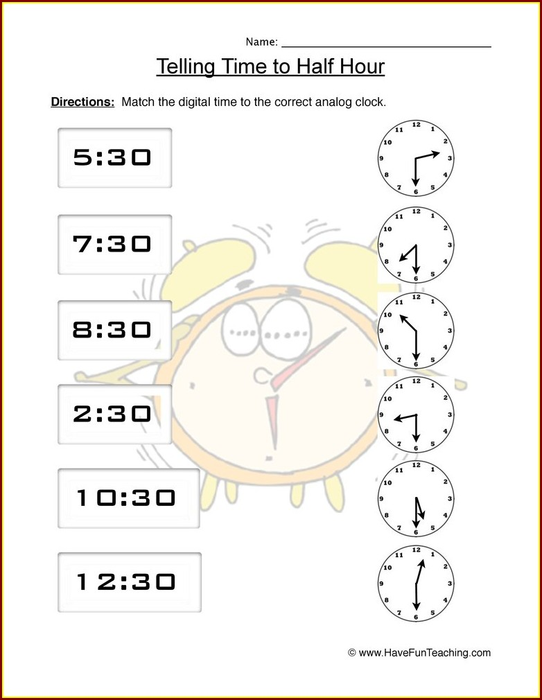 Time Worksheet Hour And Half Past