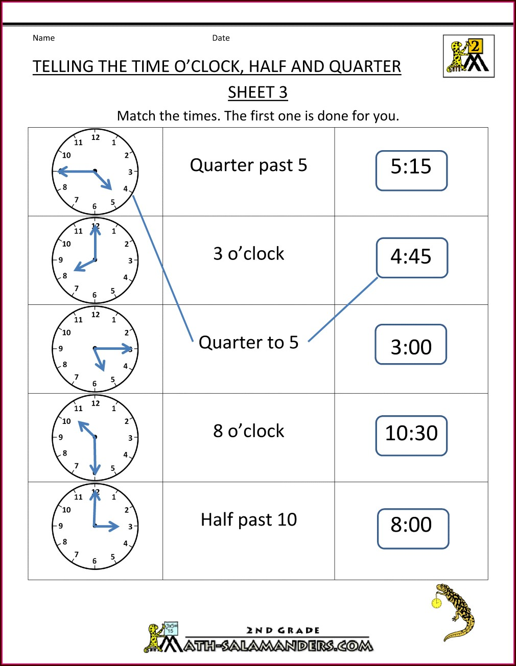 Time Worksheet Oclock And Half Past