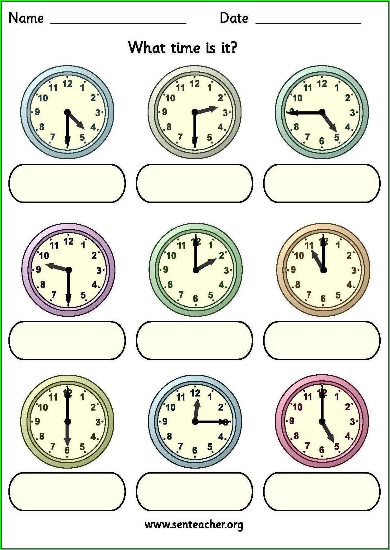 Time Worksheets Sen Teacher