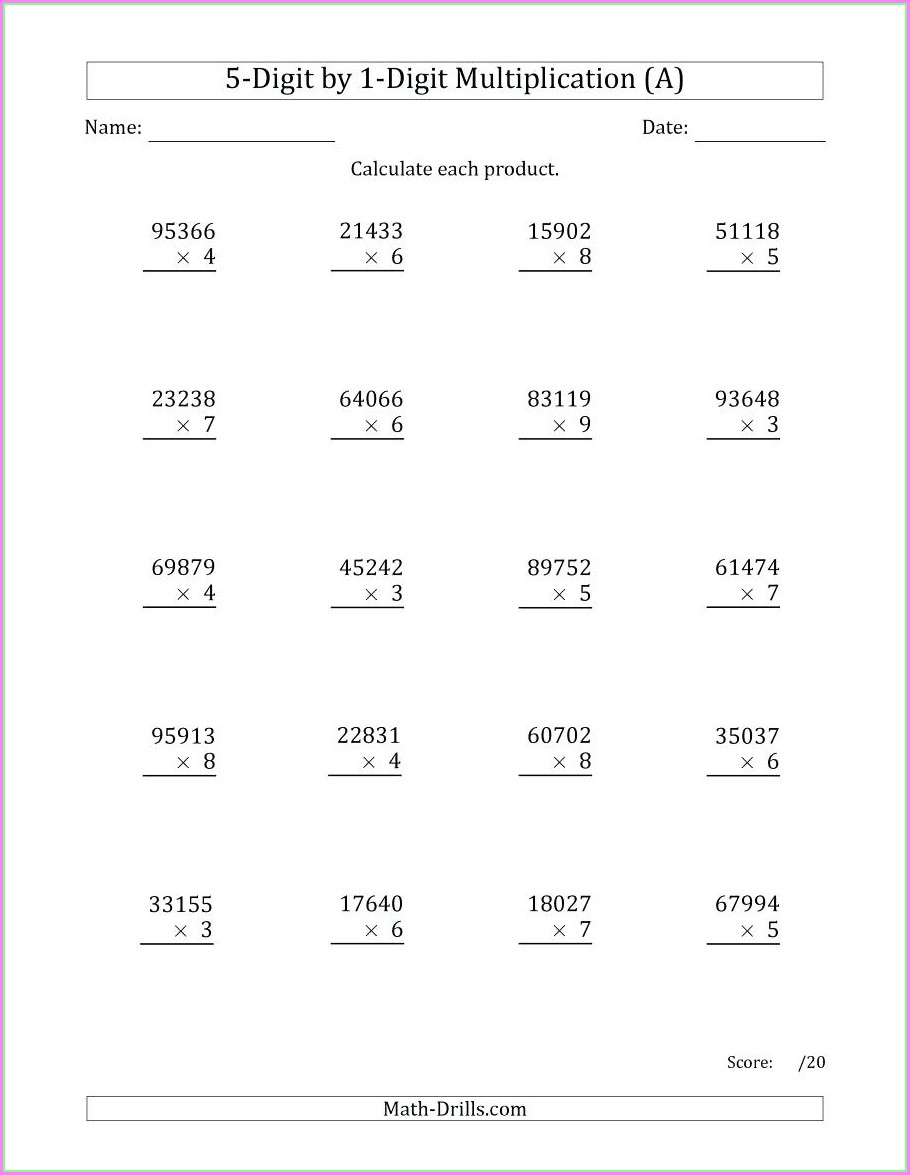 Times By 5 Worksheet
