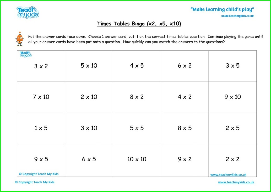 Times Tables Bingo Worksheets