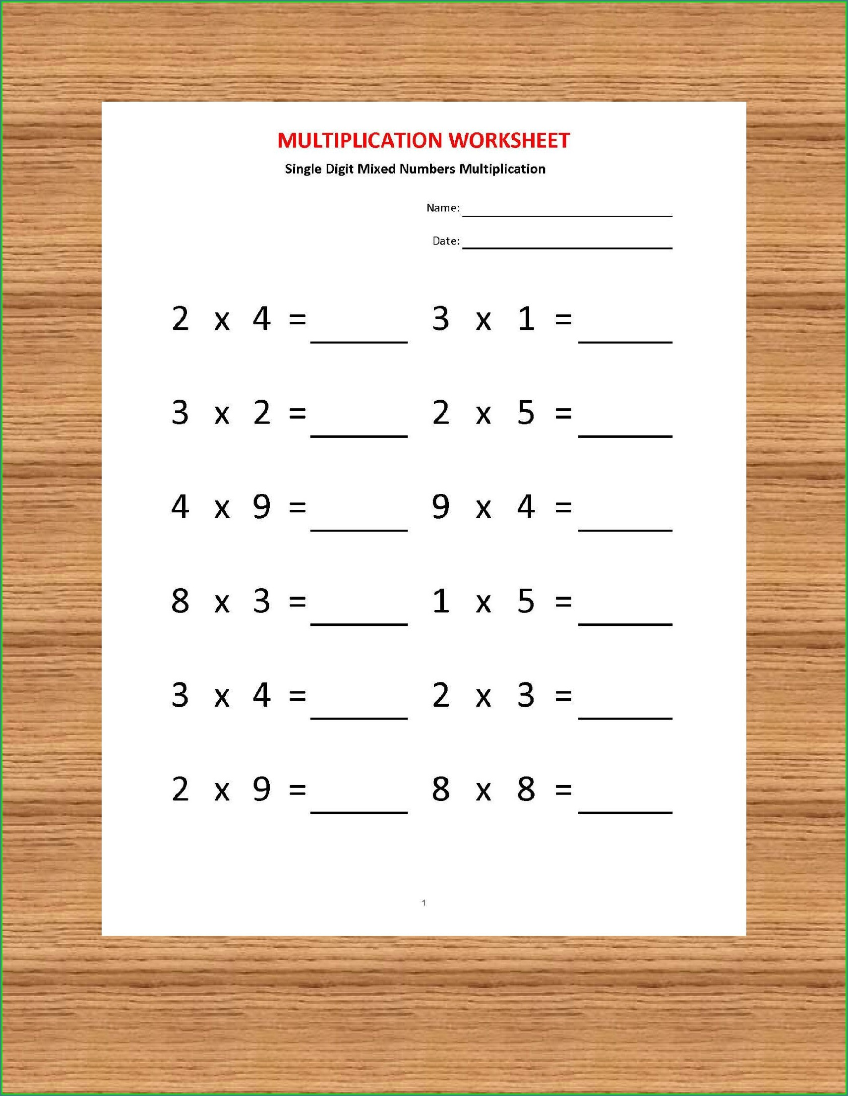 Times Tables Worksheets For Year 1