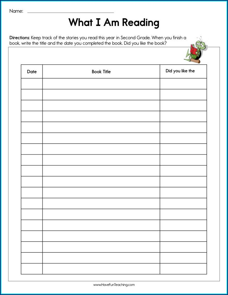 Title Page Worksheet For Second Grade