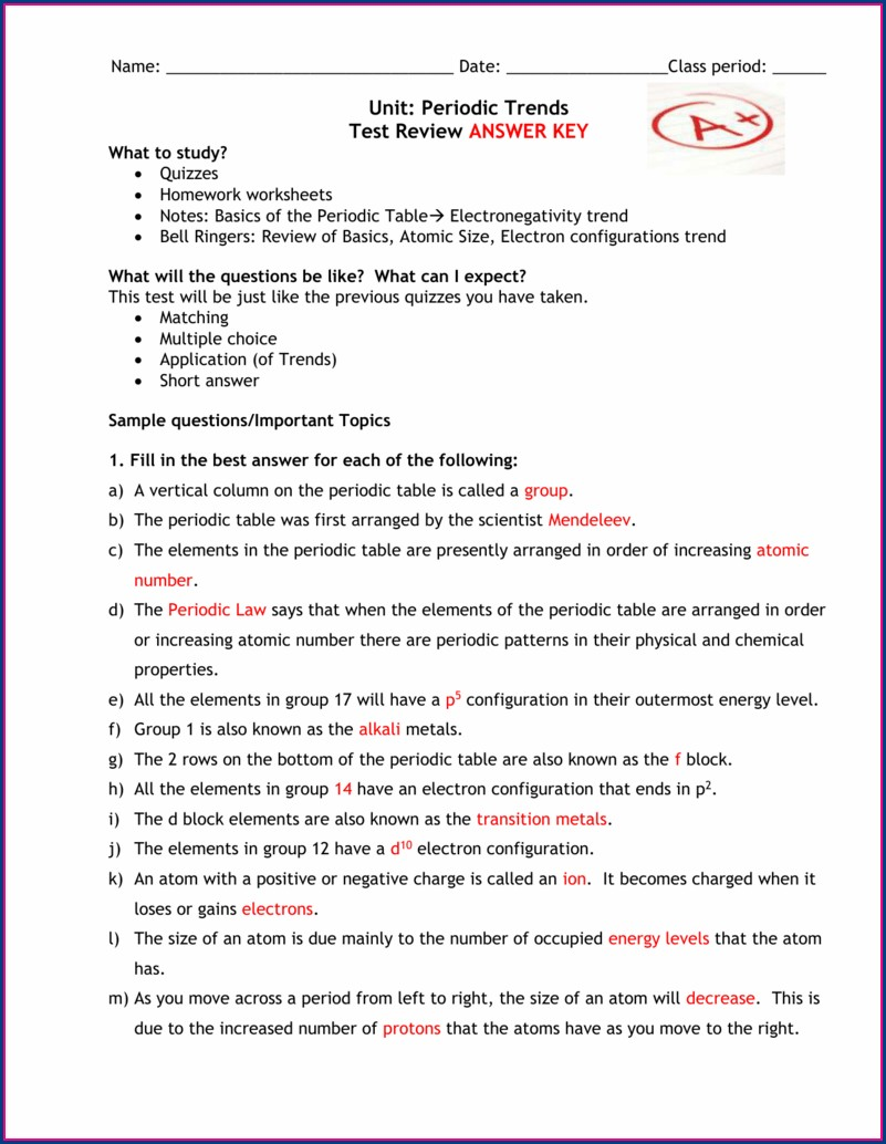 Topic 2 The Periodic Table Worksheet Answers