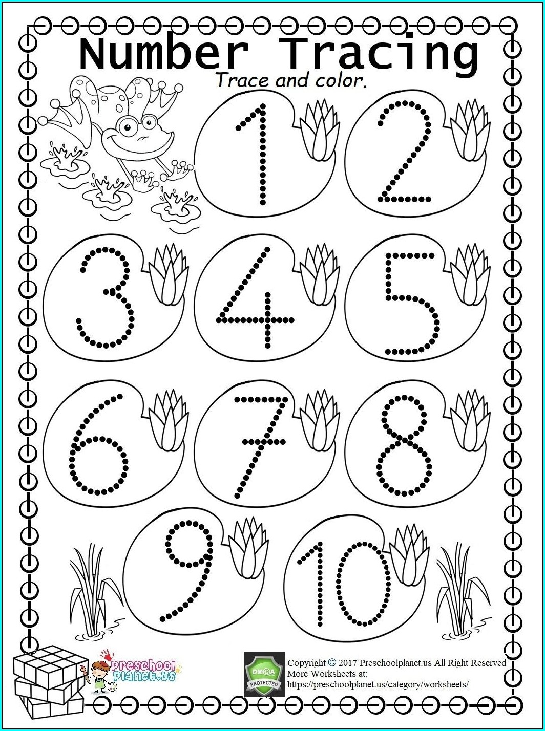 Tracing Numbers 1 10 Worksheets Kindergarten Pdf