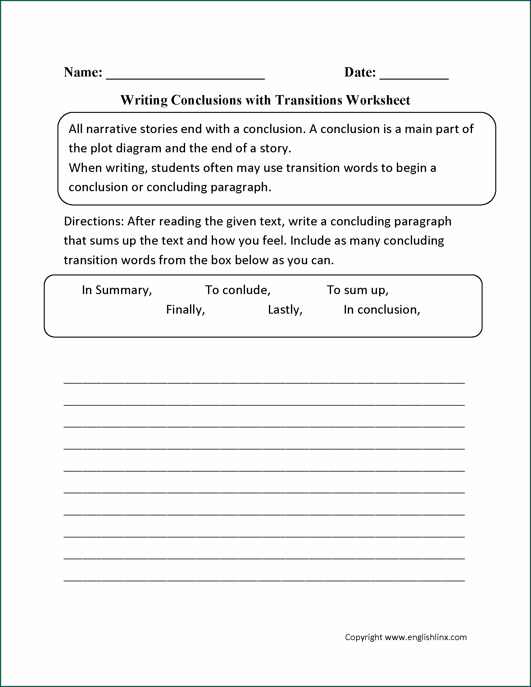 Transition Words Worksheet 2nd Grade