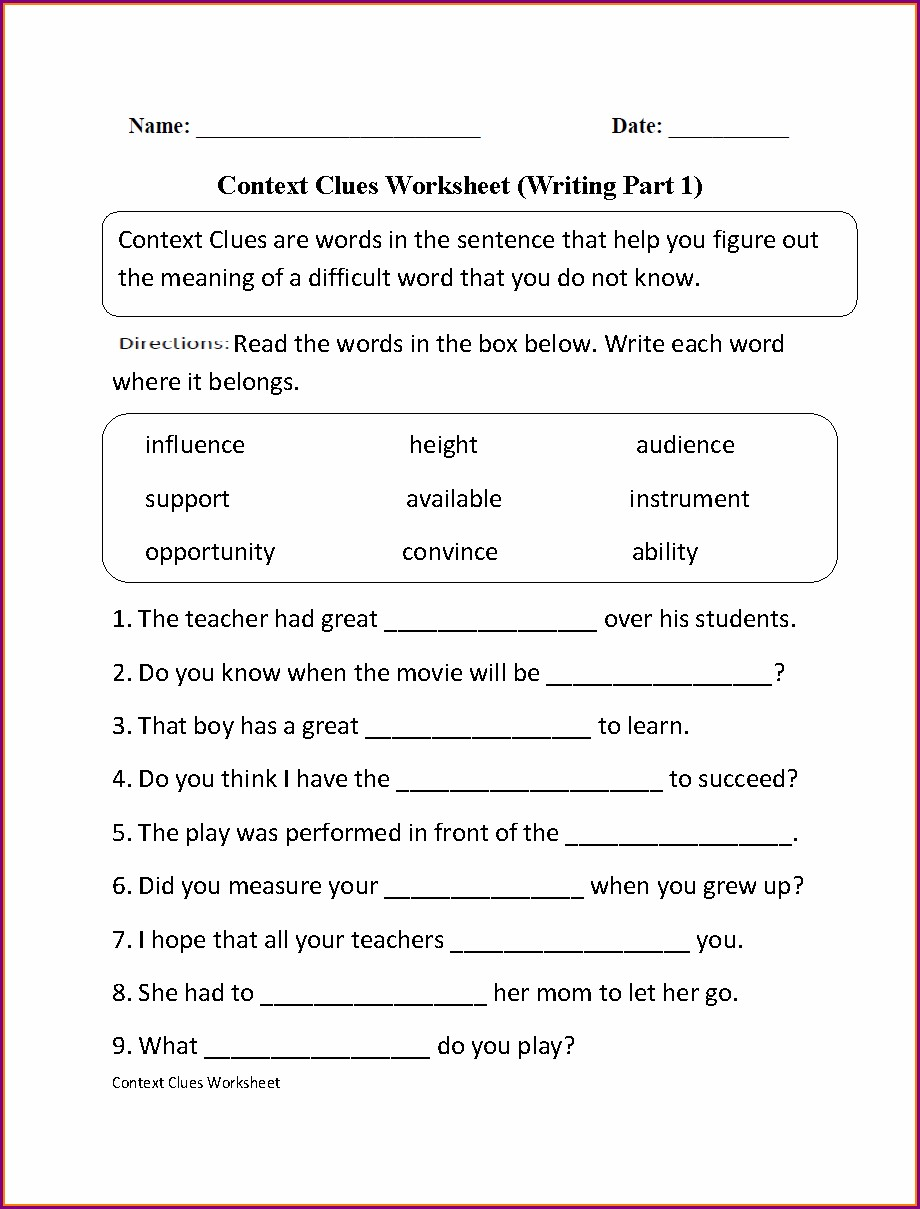 Transition Words Worksheet With Answers Pdf