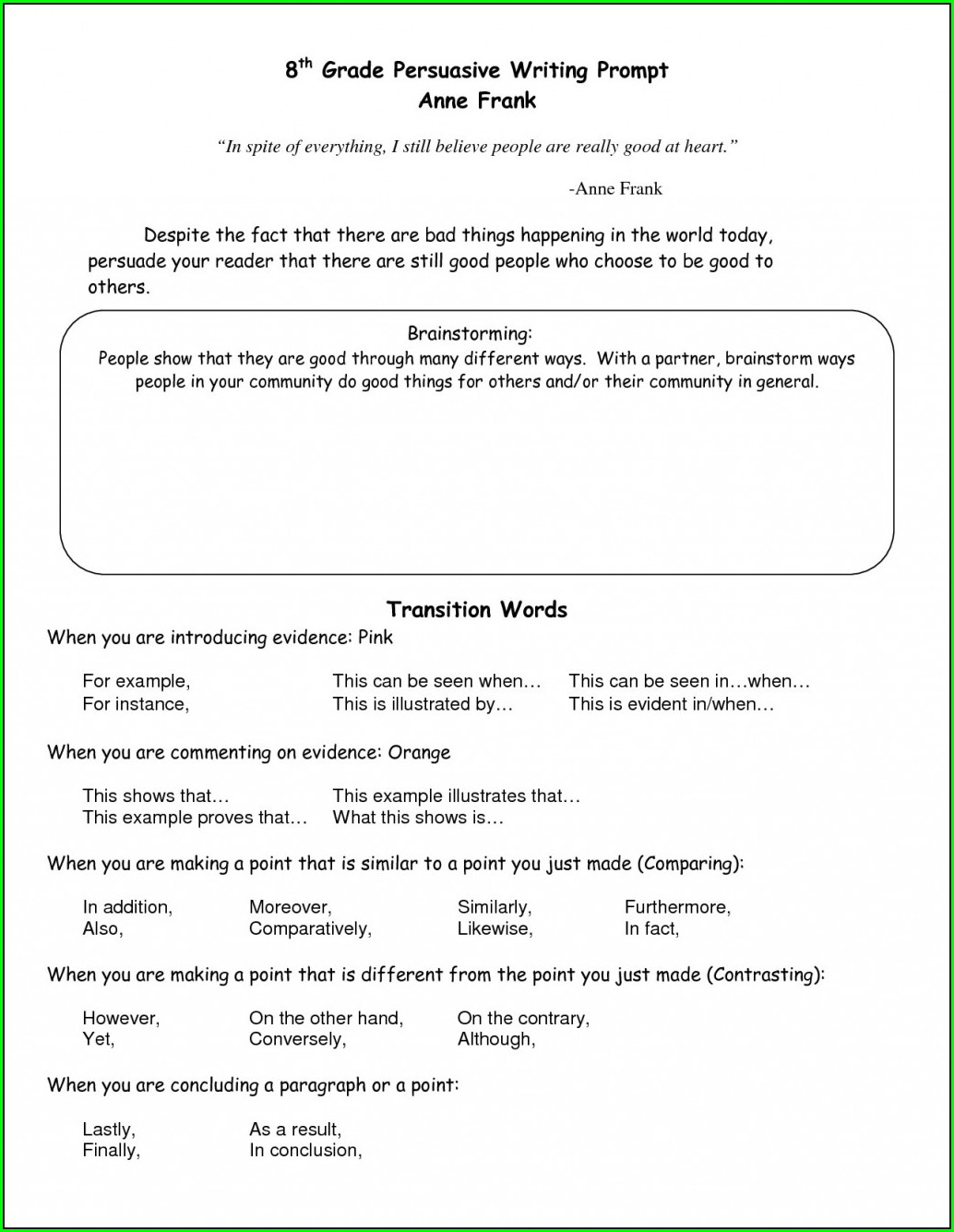 Transitional Words And Phrases Worksheet Pdf