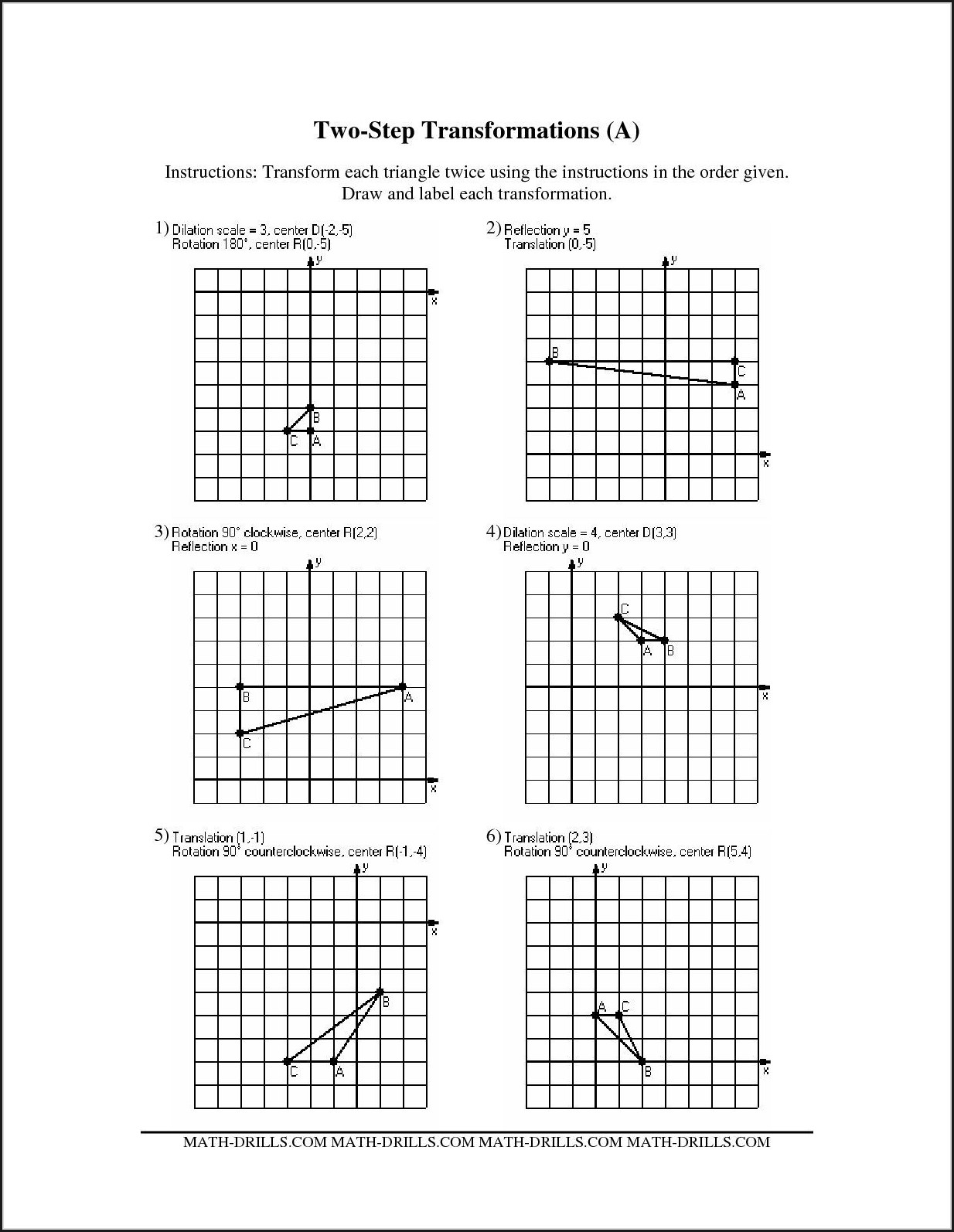 Translations Math Worksheets Grade 5