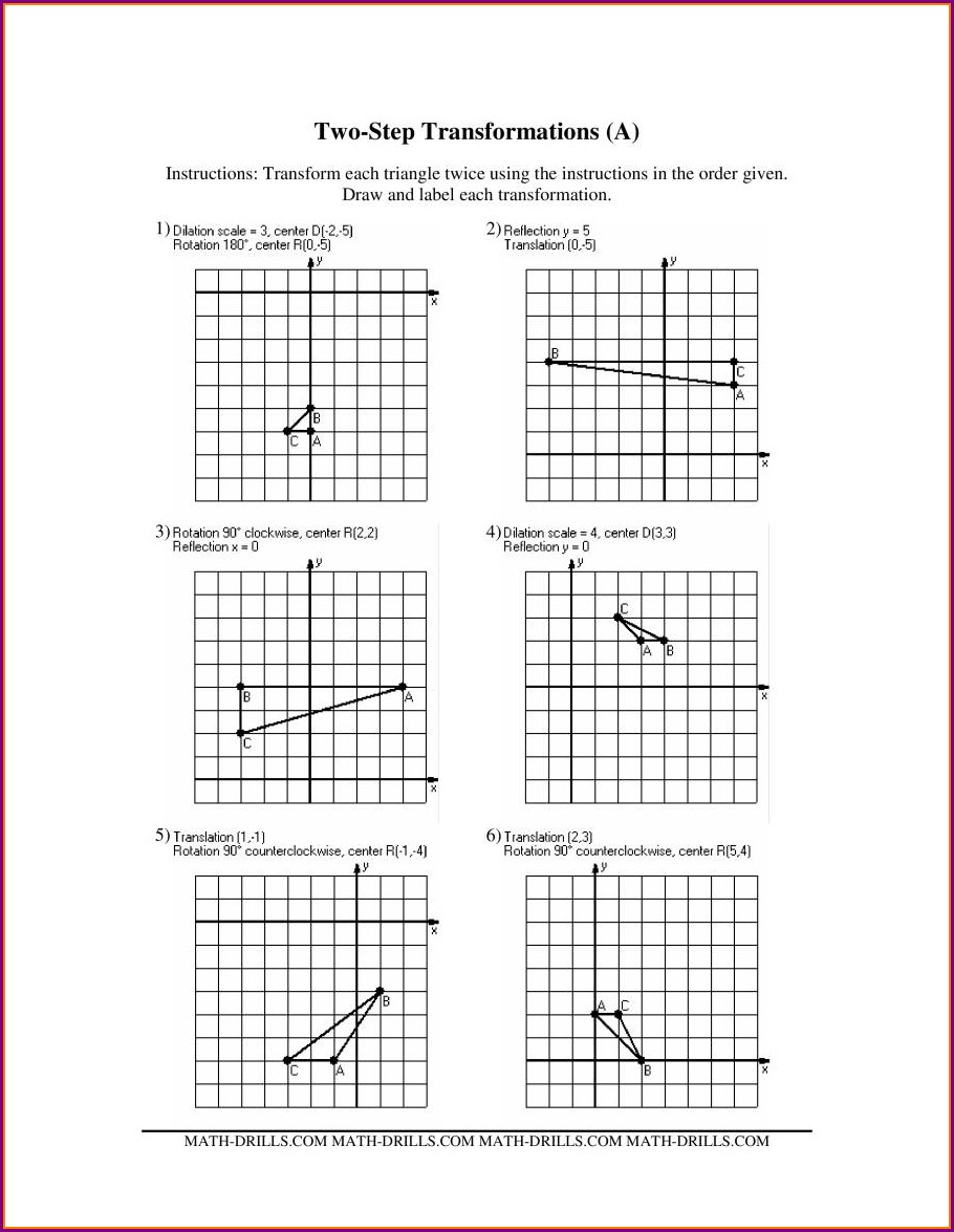 Translations Math Worksheets Pdf
