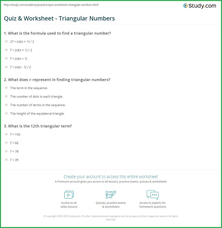 Triangular Numbers Worksheet Grade 6