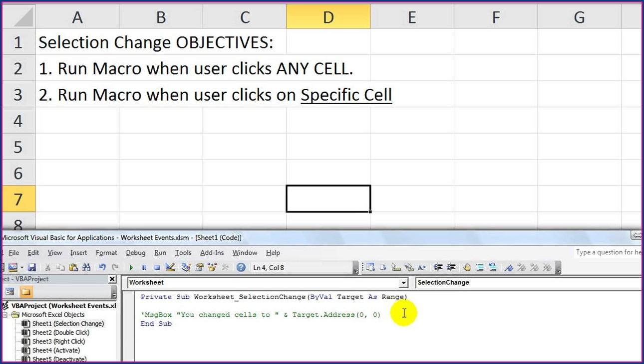 Tutorial Worksheet Change Event Excel Vba