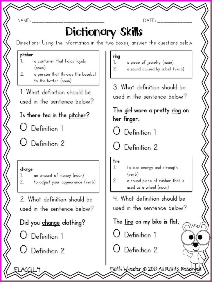 Using A Dictionary 3rd Grade Worksheet