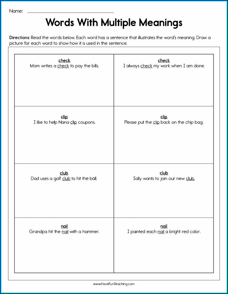 Using Multiple Meaning Words Worksheets