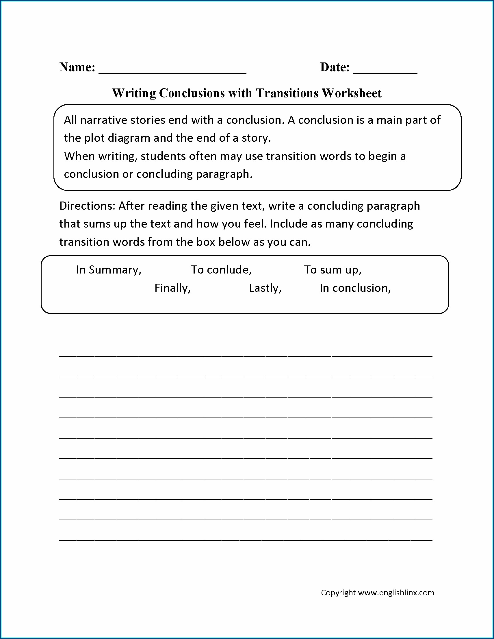 Using Transition Words Worksheet