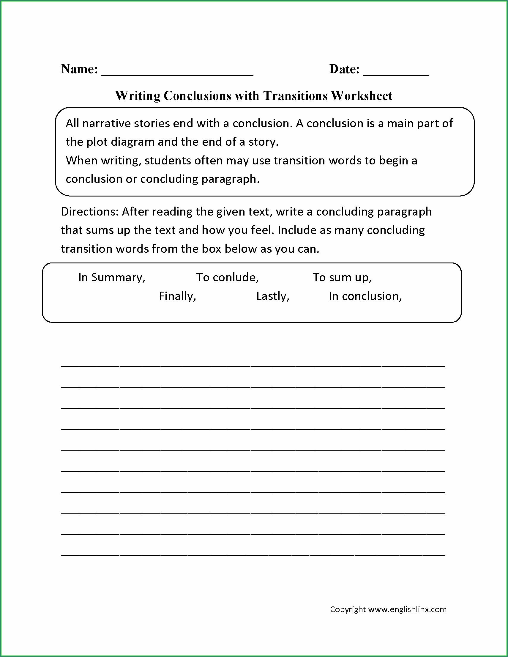 Using Transition Words Writing Worksheet