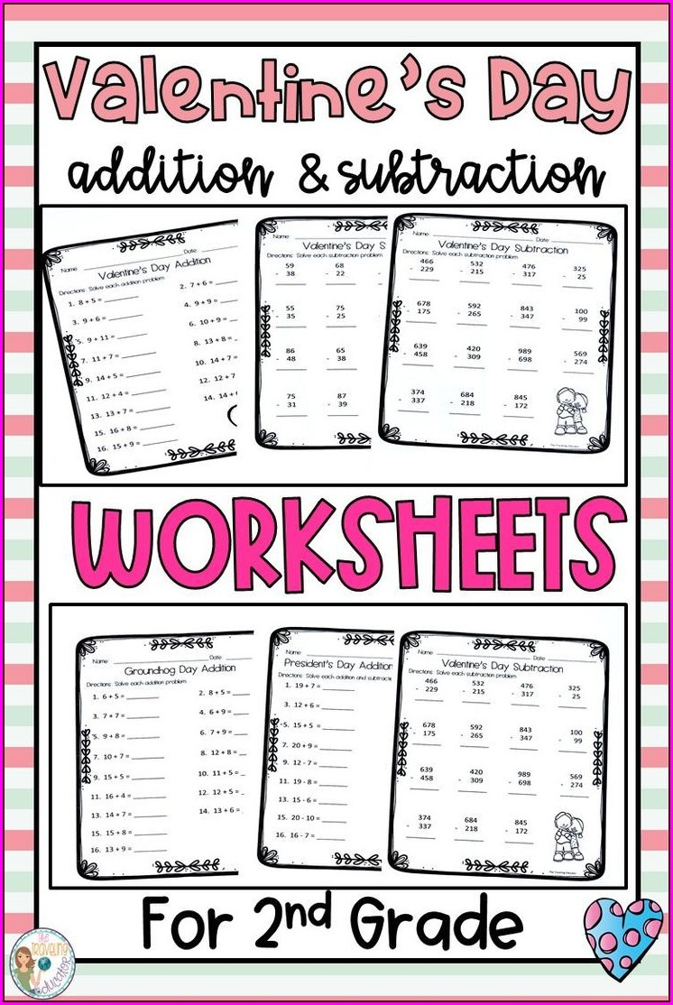 Valentine's Day Math Addition Worksheets