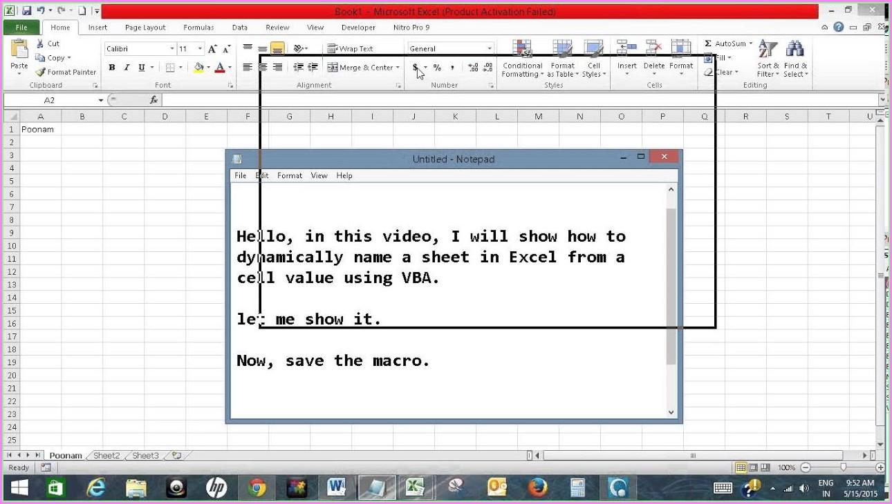 Vba Copy Sheet Name To Cell