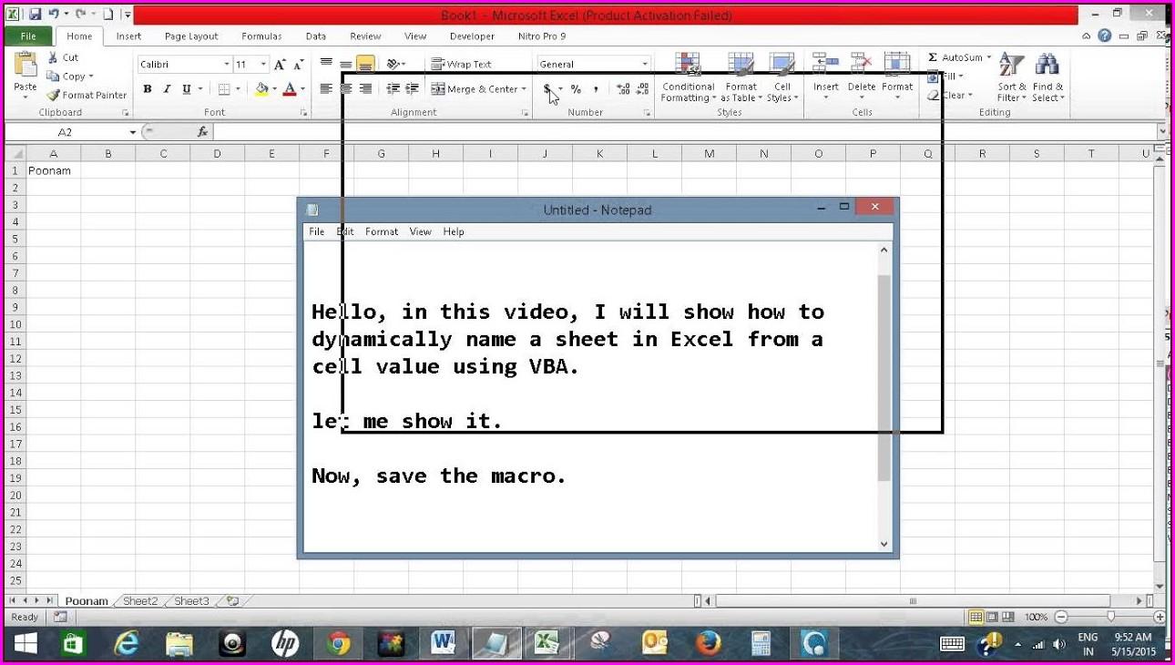 Vba Display Worksheet Name