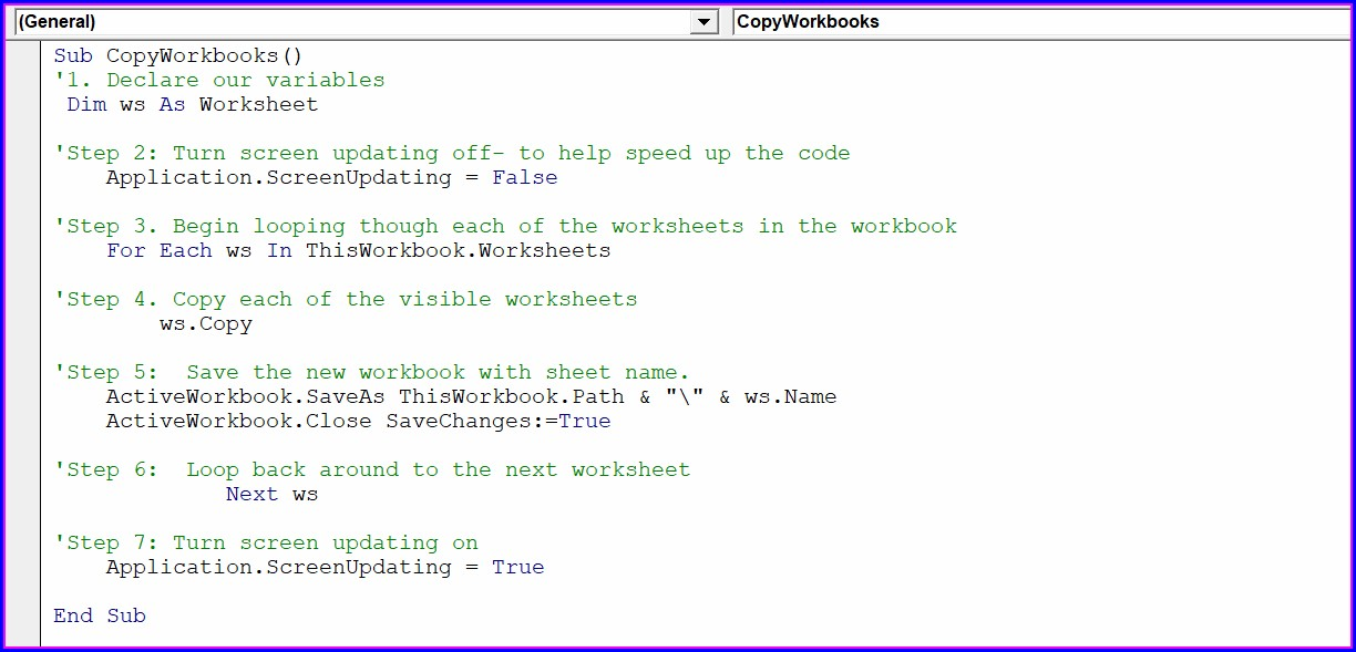 Vba For Each Worksheet In Workbook