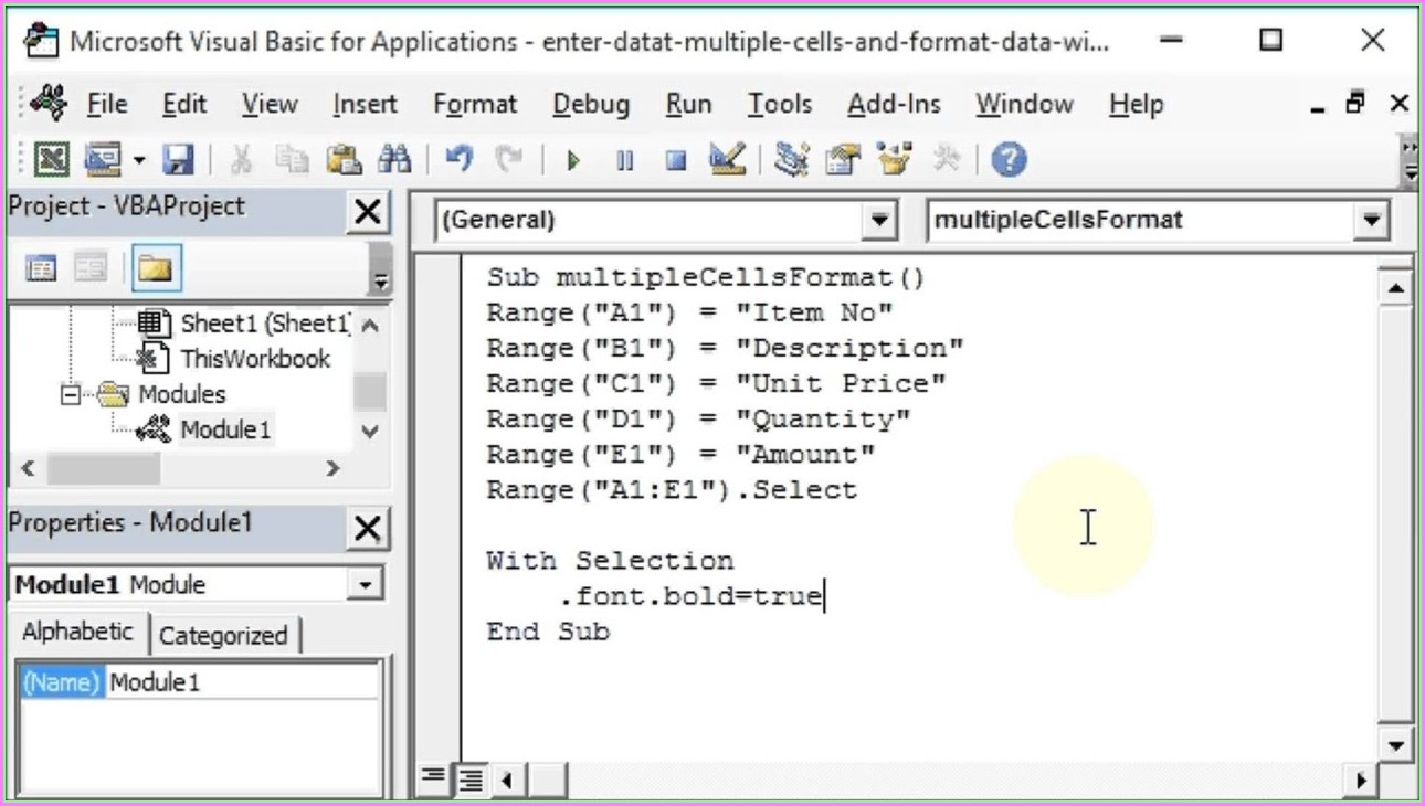 Vba Sheets Cells Select