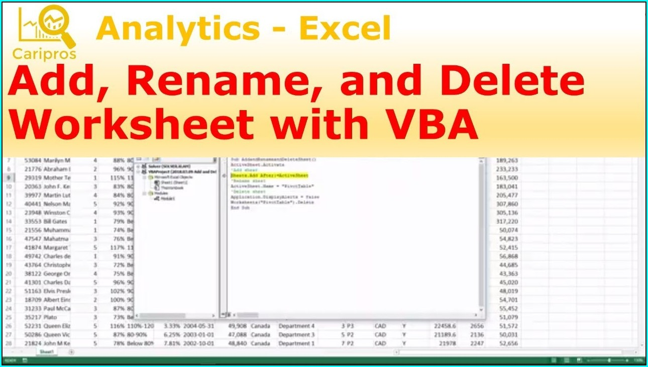 Vba Worksheet Add Rename