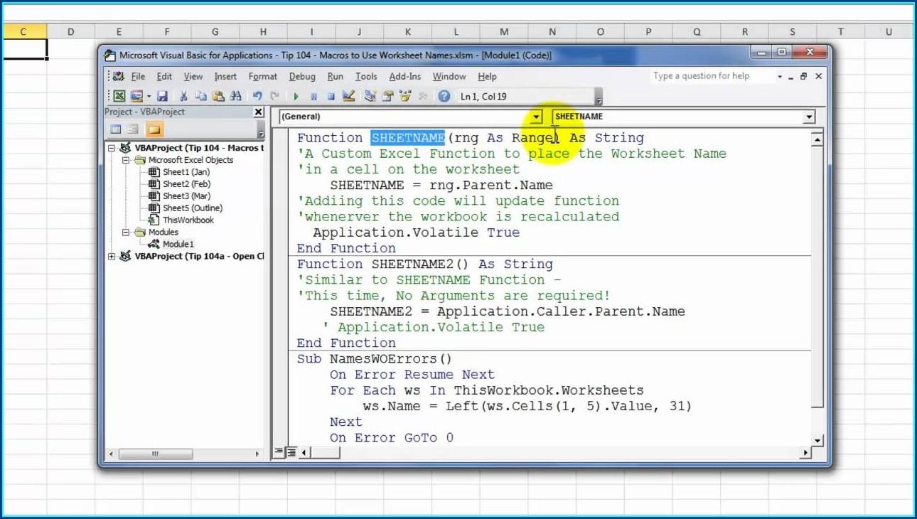 Vba Worksheet Name Function